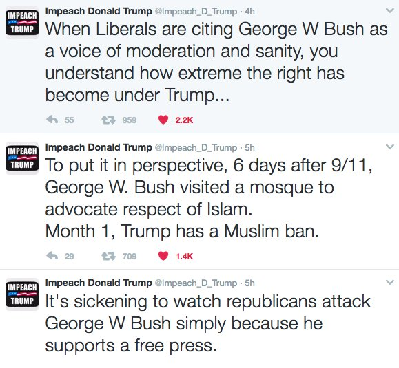 The situation is so serious that I think George W. Bush will soon publish tweets with hasthags like : #TheResistance , #NotMyPresident ... <br>http://pic.twitter.com/gCWA0l2uJK