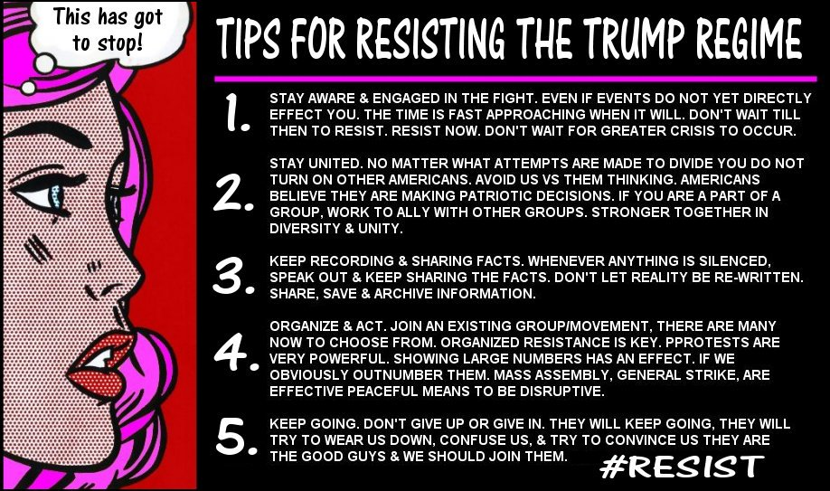 #Resistance #StopTrump #NotMyPresident #Resist  5 Steps to keep in mind while resisting the regime of the orange menace.  Please share.<br>http://pic.twitter.com/dH9D9oMeqa
