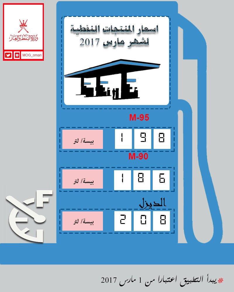 وزارة النفط تعلن عن التسعيرة الجديدة للوقود لـ شهر مارس 2017م.