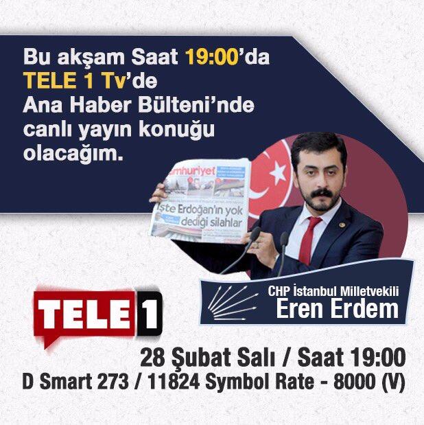 Bu akşam 19:00 itibariyle @tele1comtr 'nin konuğu olacağım. Beklerim....