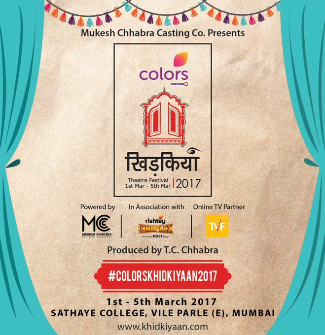 Really looking forward to this one. Catch me there on March 2nd #colorskhidkiyaan2017 #theatre #fest @CastingChhabra https://t.co/xyOlcb7lDw