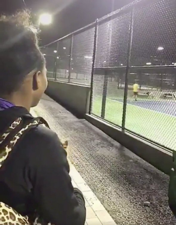 Serena Williams surprises two random tennis players by asking to join...