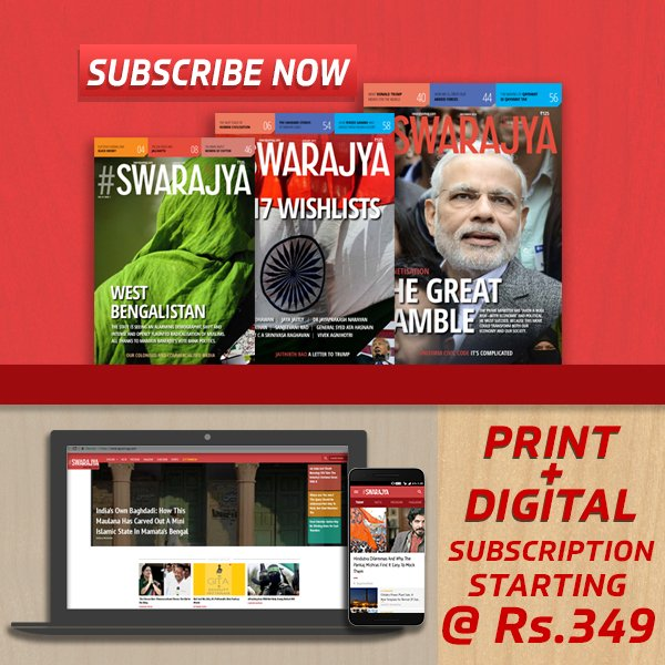 Subscribe to Swarajya Print+Digital.  Plans starting at ₹349