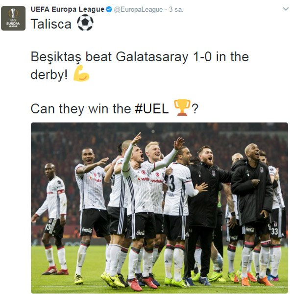 UEFA'dan Beşiktaş paylaşımı:  'Avrupa Ligi'ni de kazanabilirler mi?'...
