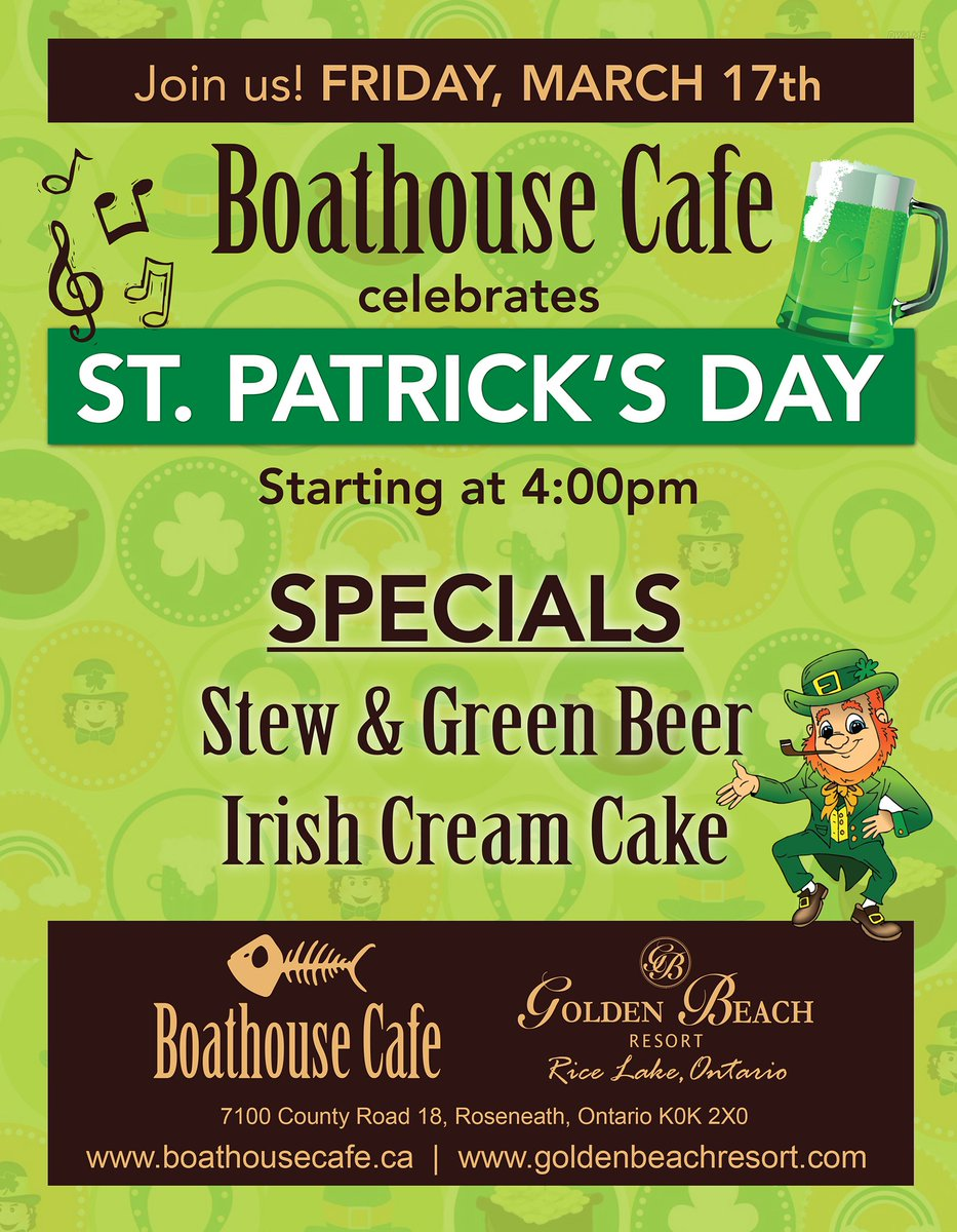 Join us for St. Patrick&#39;s Day celebrations at the Boathouse on March 17th! #StPaddysDay #irish #resort #SpringTime #green <br>http://pic.twitter.com/RQzjzOJpGI