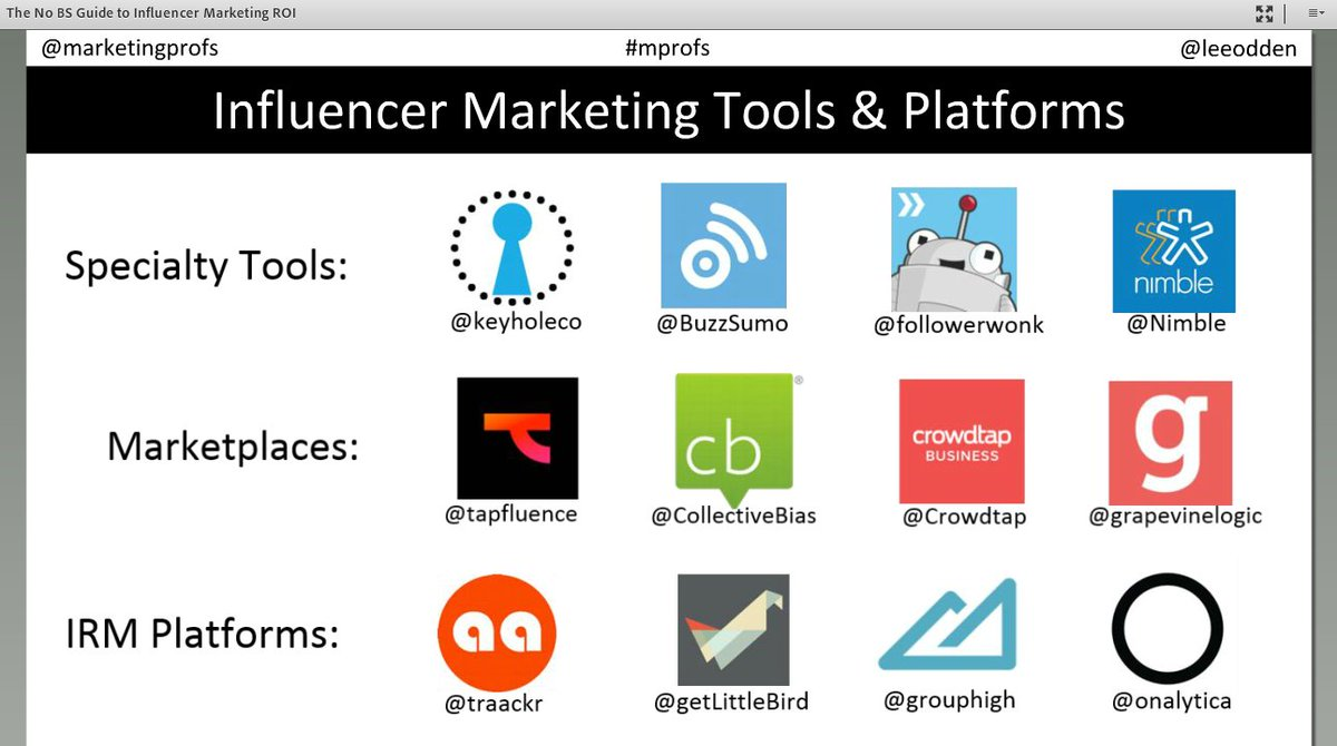 Find influencers using one of these tools...shared by @leeodden during #mprofs #InfluencerMarketing webinar https://t.co/zJmpWZ6jwO