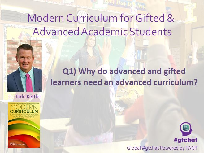 Q1) Why do advanced and gifted learners need an advanced curriculum?  #gtchat https://t.co/nVE2LF61Mm