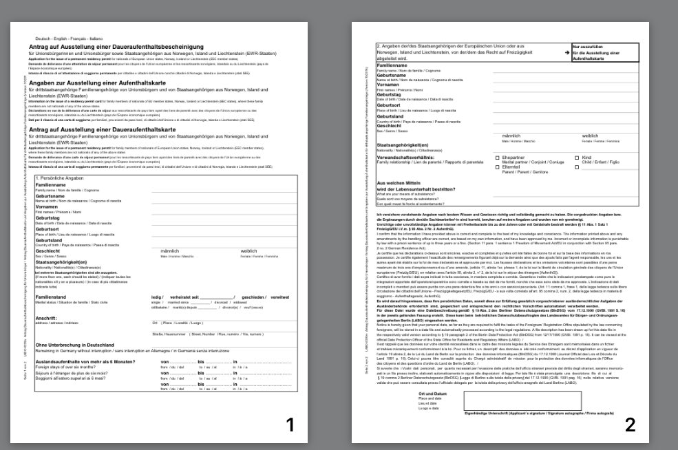 For comparison, under same EU law, application for permanent residence forms:  Ireland: 5 pages, free. Germany, 2 pages, €8 UK 85 pages, £65