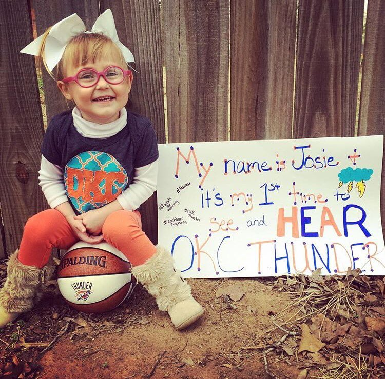 Josie gets to HEAR her first Thunder game tonight thanks to her new cochlear implants! Make sure you're extra loud for her, Loud City!