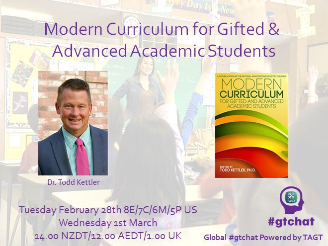 "T-10 till #gtchat - Today we'll be chatting about ""Modern Curriculum for Gifted & Advanced Academic Students"" https://t.co/06uGlEWm6R"