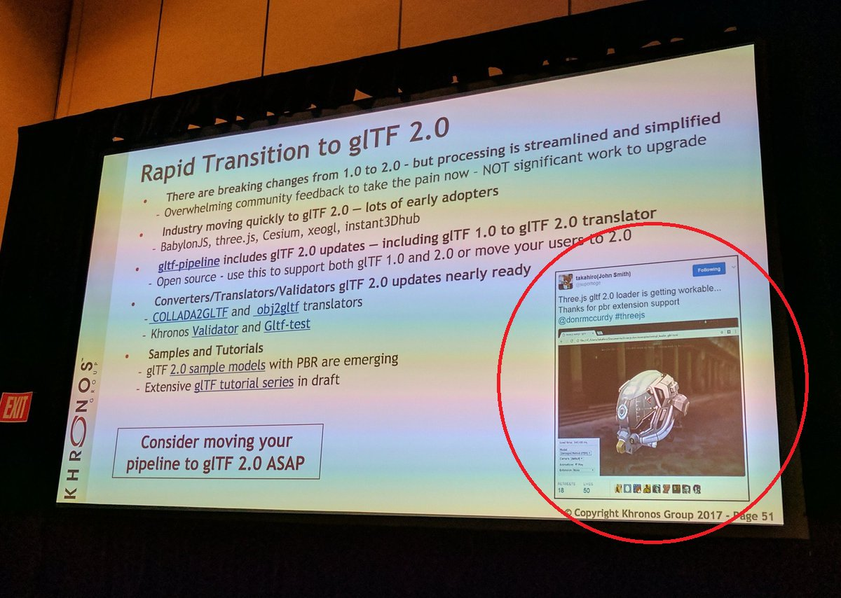 My debut on GDC at Khronos group stage! haha #threejs #gltf