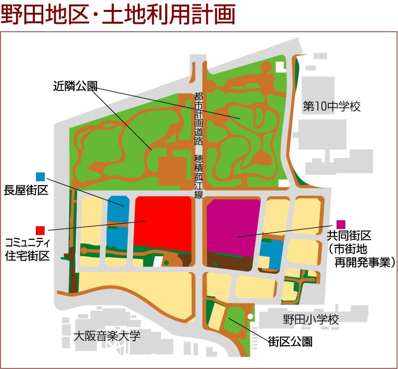 森友国有地払い下げ問題・なぜこの土地が?(1)添付した地図は、豊中市野田土地区画整理事業の土地利用図。「瑞穂の國」小の場所は、明確に公園用地として記されています。その土地がなぜ格安で払い下げられたのか? https://t.co/wPt81pDluj
