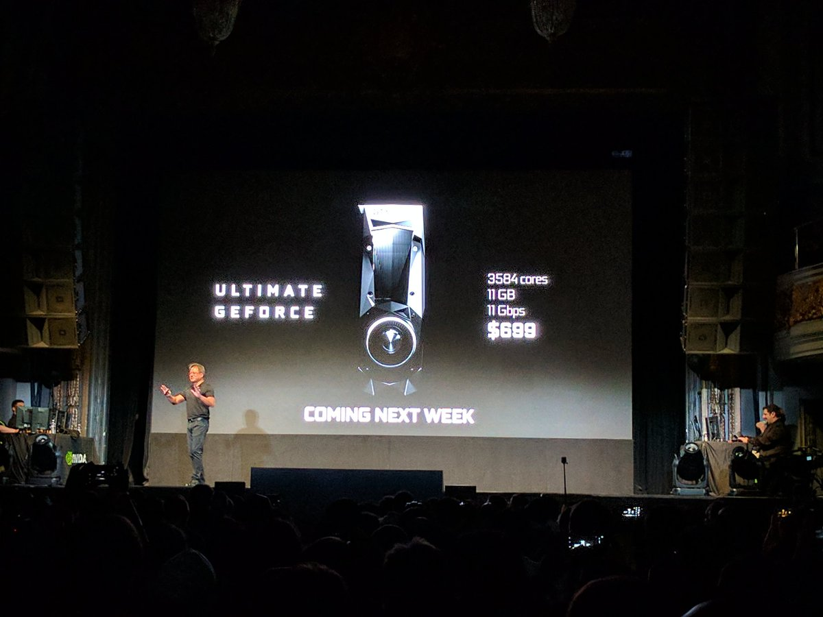 The GeForce GTX 1080 Ti - faster than TITAN X - will be $699 and available next week. #UltimateGeForce https://t.co/aW6XIv0Cyv