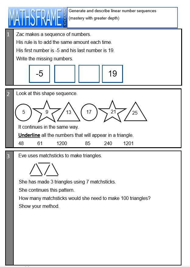 Ted Burch On Twitter Added Today 2 More Y6 Worksheets Generate. Added Today 2 More Y6 Worksheets Generate And Describe Linear Number Sequences Mathsframecoukenresourcesworksheets Pictwitterynw8iqqdrq. Worksheet. Worksheet Generator Uk At Mspartners.co
