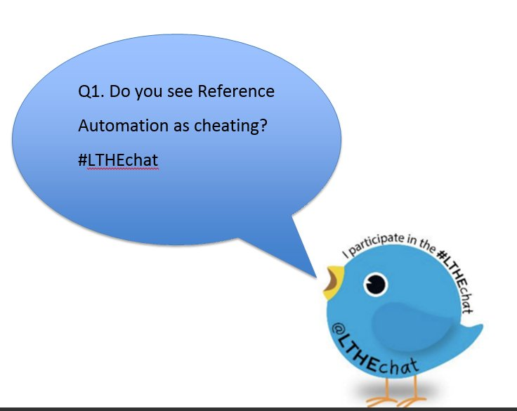 Q1. Do you see Reference Automation as cheating? #LTHEchat https://t.co/VdPAbaPzEc