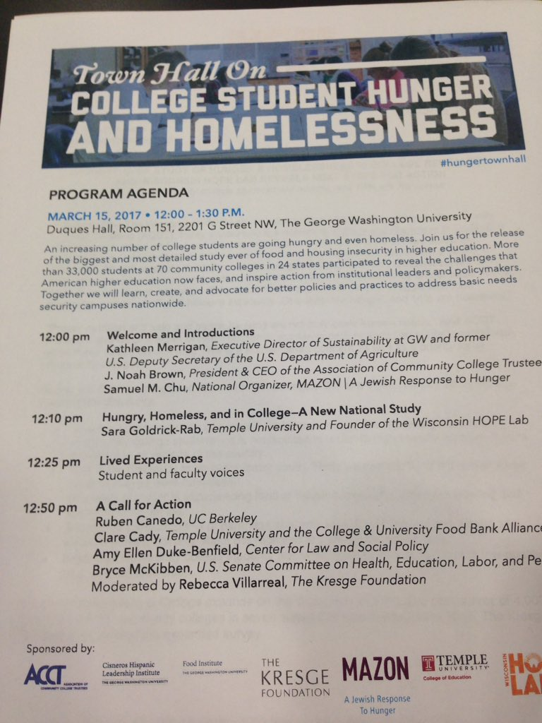 We're here in DC @ #hungertownhall to discuss new research on college student hunger & homelessness. Nice 2 see student voice on agenda! https://t.co/nDWUICF9jb