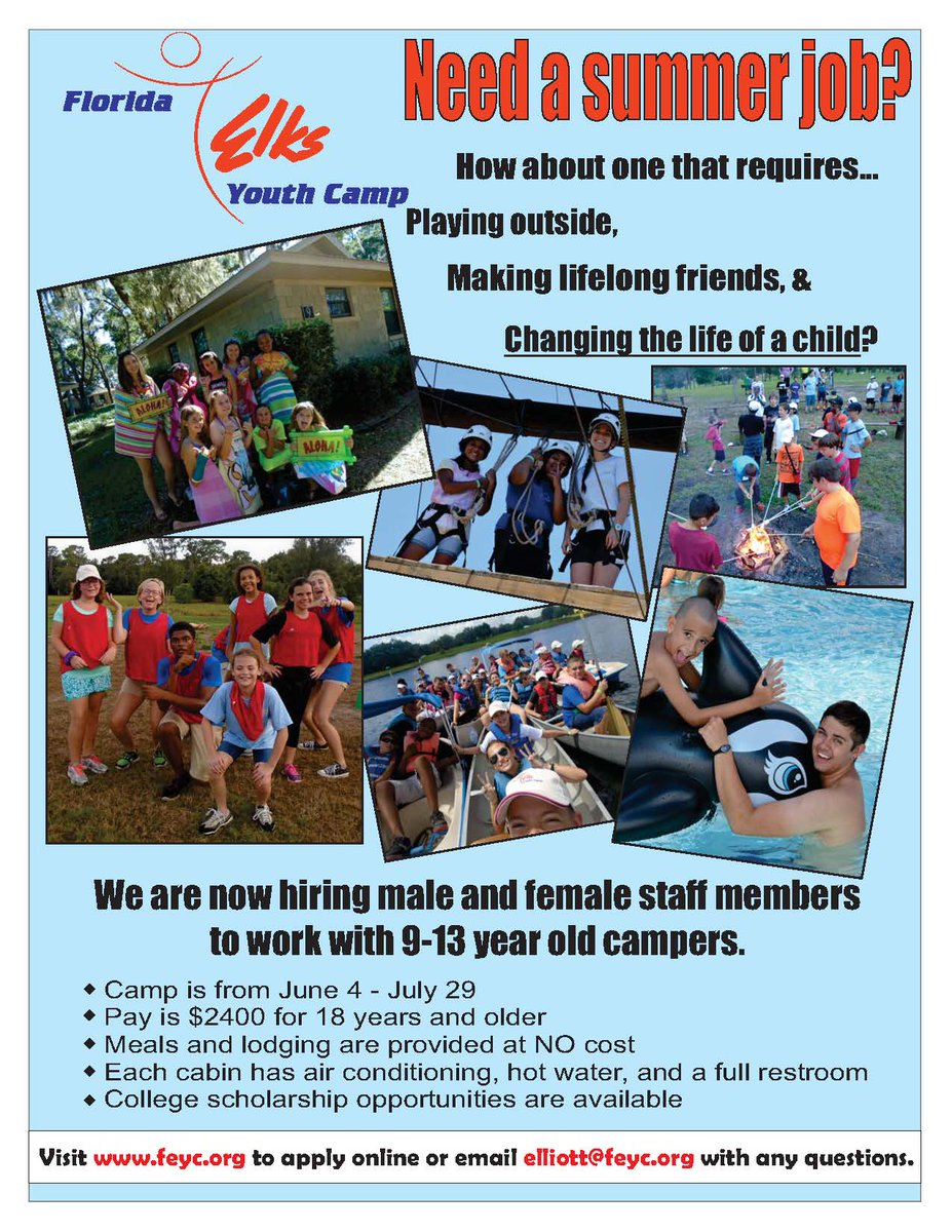 Usf College Of Education On Twitter Usf Students Looking For A Summer Job Florida Elks Youth Camp Is Hiring Staff Members To Work W 9 13 Year Old Campers From 6 4 7 29 Https T Co Benoa2en6n