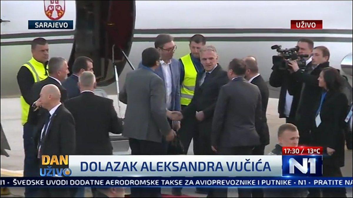 Serbia PM Aleksandar Vučić greeted by Bosnia FM Igor Crnadak and Ambassador of Serbia in BiH Stanimir Vukičević