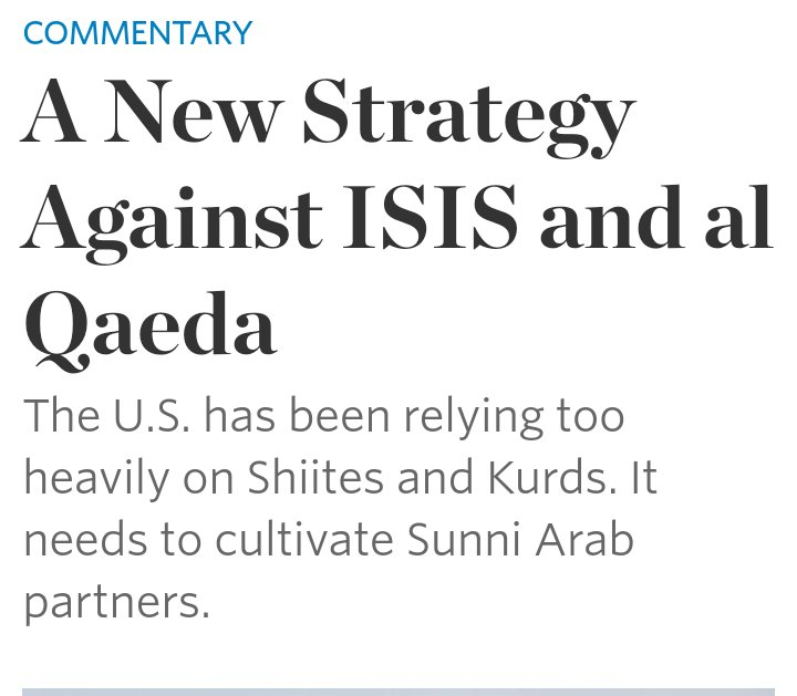 It's that time of the year again when American pundits declare the need for the fictitious Sunni Arab army. https://t.co/sRaibk6Gh1