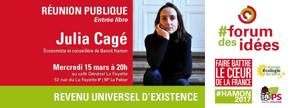 Revenu Universel d&#39;existence, qu&#39;y a-t-il derrière le concept ? Rdv mercredi 21.03 19h avec @CageJulia #Hamon2017 #RUE #économie #Paris9<br>http://pic.twitter.com/OZlkRrlK8Q