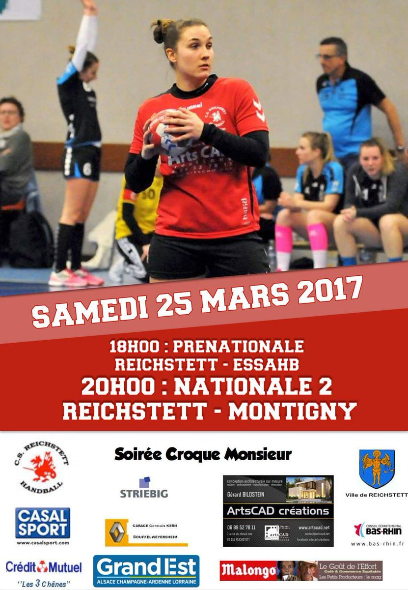 Nationale 2 féminine #Handball  Samedi 25 mars 2017 #Reichstett vs #Montigny  Partagez pour les soutenir! #SportReichstett #Eurométropole<br>http://pic.twitter.com/LFLH7Iks1U