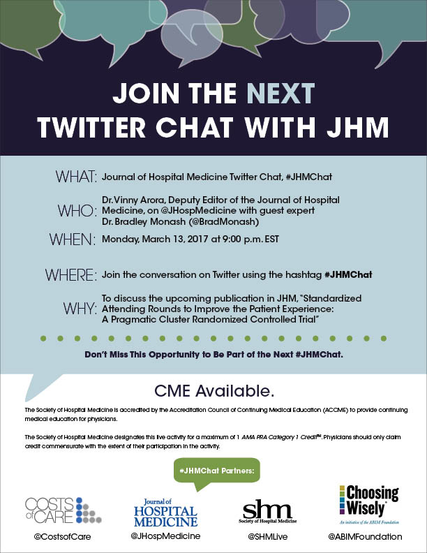 #JHMChat starts NOW! Discuss #meded #ptexp conflicting findings w/ @JHospMedicine @FutureDocs @BradMonash, and don't forget to claim #CME! https://t.co/pGZNfKoFU9