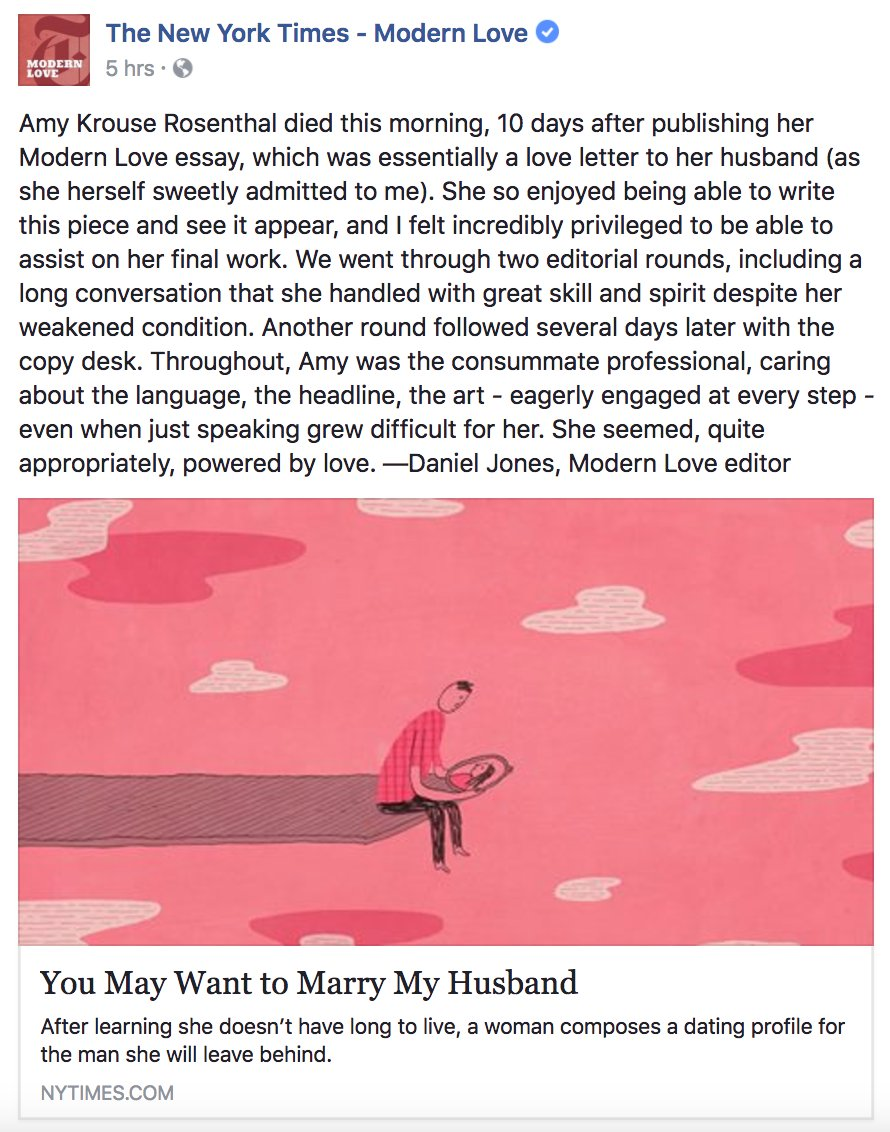 the new york times on a note from our modern love editor a note from our modern love editor on working amy krouse rosenthal nyti ms 2mgaw8x amy s essay nyti ms 2ny7kcq pic com