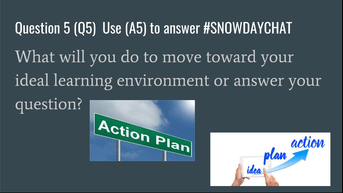Q5. What will you do to move toward you ideal learning environment or to answer your question? #SNOWDAYCHAT https://t.co/ceAtxsPB12