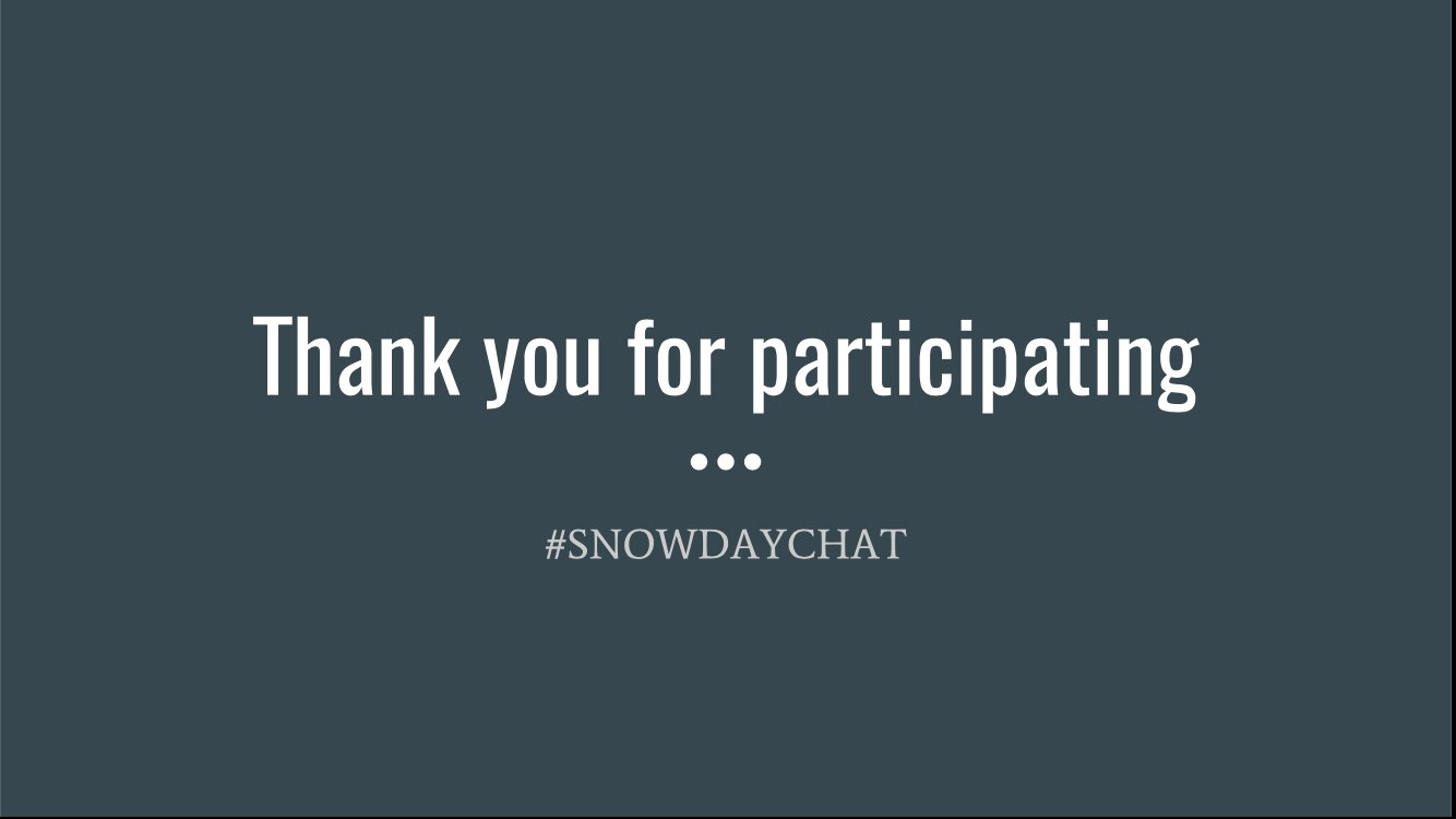 Thank you to all who participated in  #SNOWDAYCHAT.  Please continue the conversations and enjoy your #SNOWDAY https://t.co/WefidlEiA2