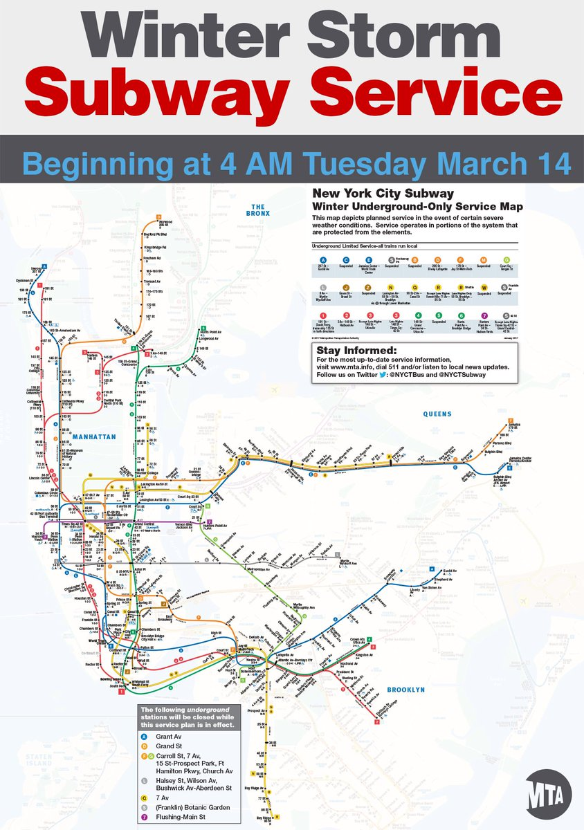 Mta Subway Map 7 Train.Nyct Subway On Twitter Here S Your Winter Storm Map Guide To