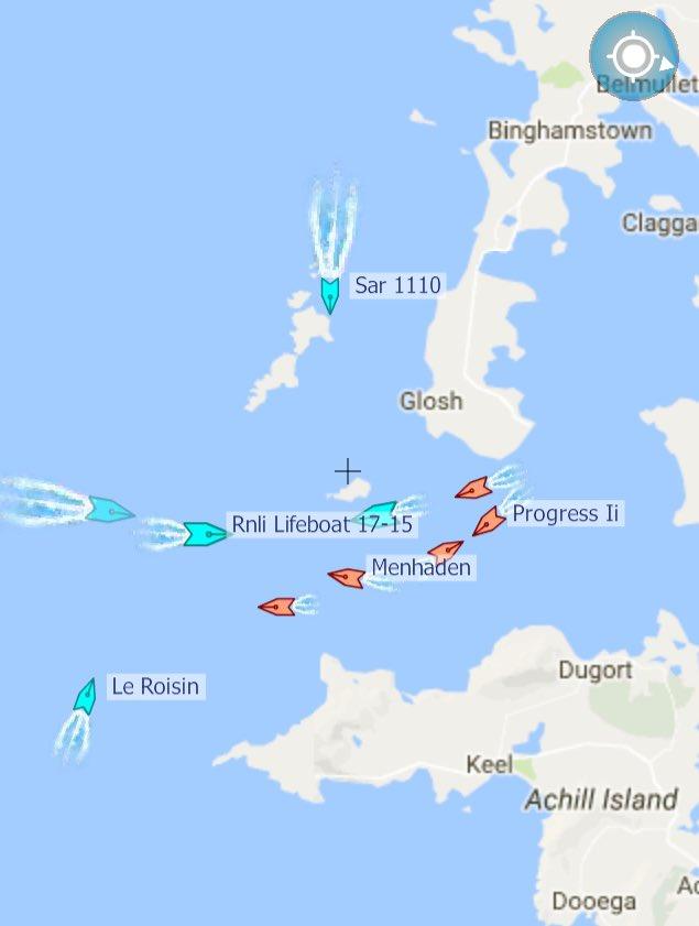 Latest from search in Blacksod @ 8.45am. 2 @Rnli lifeboats, 2 coastguard helis, 5 fishing vessels, LE LERoisin #rtenews @dfpo #coastguard