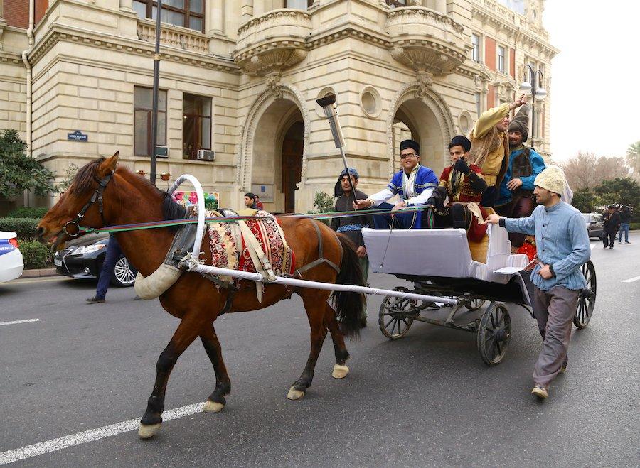 Azerbaijan: Newruz celebrations take place in Baku as Azerbaijani people participate wearing traditional clothing.