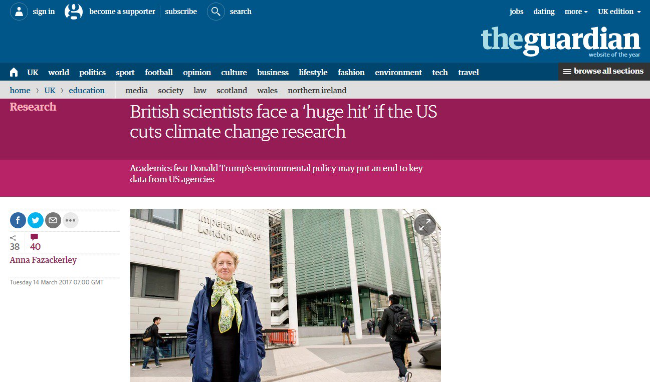 British scientists face a 'huge hit' if the US cuts climate change research, says @Grantham_IC's Jo Haigh https://t.co/Pp5rLr7bhB https://t.co/Vm3wICyF9i