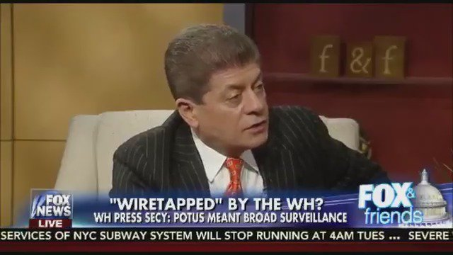 .@Judgenap: Three intel sources have disclosed that Pres. Obama turned to British spies to get surveillance on Trump