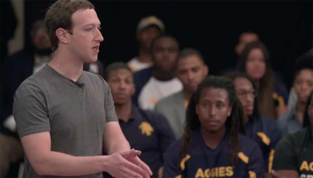 Mark Zuckerberg, CEO of a one percent black company, spoke to black students about 'diversity'  https://t.co/MQo2WpKECM