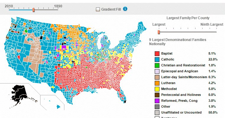 Vivid Maps On Twitter Major Religious Families By Counties Of - Usa religion map