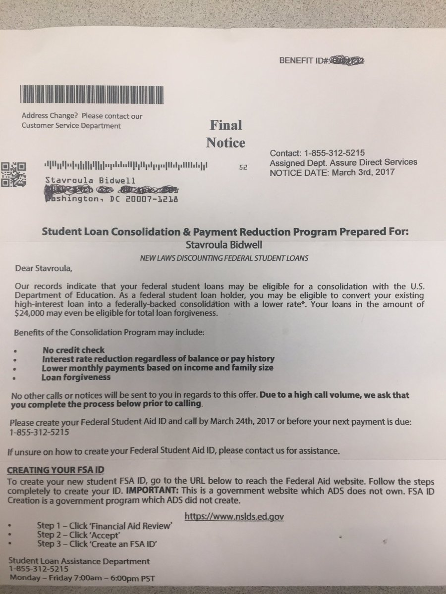 Allie bidwell on twitter got a pretty ridiculous debt relief scam allie bidwell on twitter got a pretty ridiculous debt relief scam letter in the mail that looks like it may lead borrowers to hand over their fsa ids spiritdancerdesigns Gallery