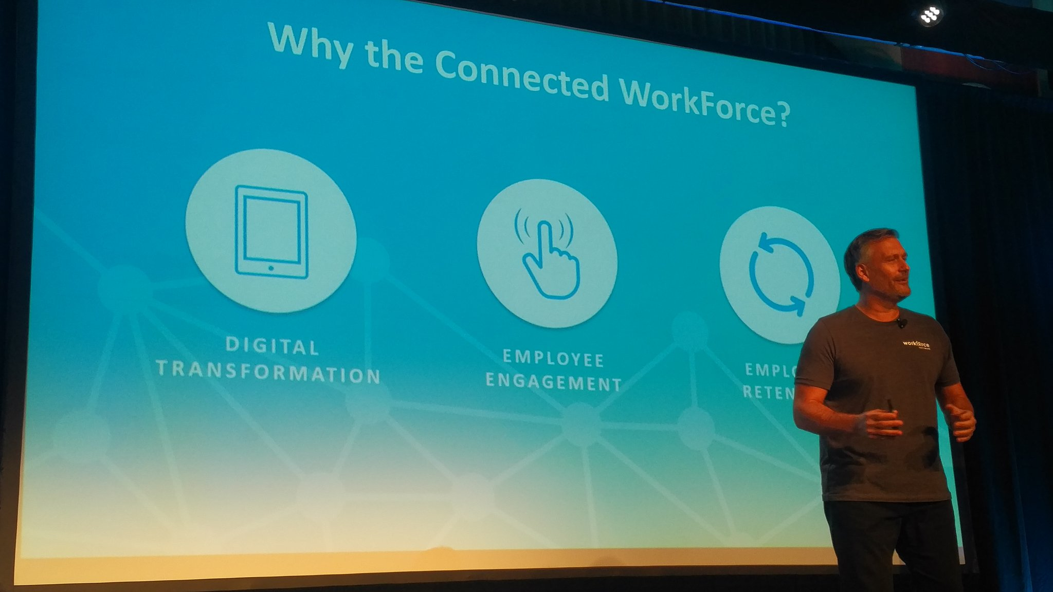 .@mikemorini77 the connected workforce enables  - #Digitaltransformation  - employee #engagement  - employee #retention  #wfsvision17 https://t.co/7LQYsLtVLU