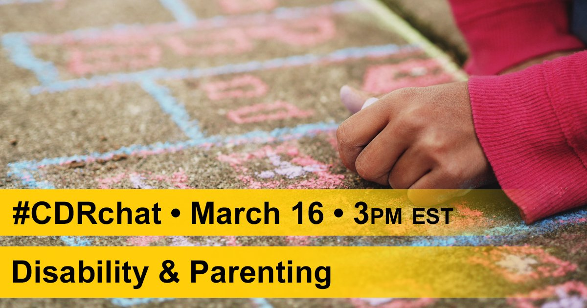 Interested in discussing #Disability & #Parenting? You are welcome to engage in the #CDRchat this Thurs at 3pm EST! https://t.co/JcURBjBl4H https://t.co/Nd1a61JtEv