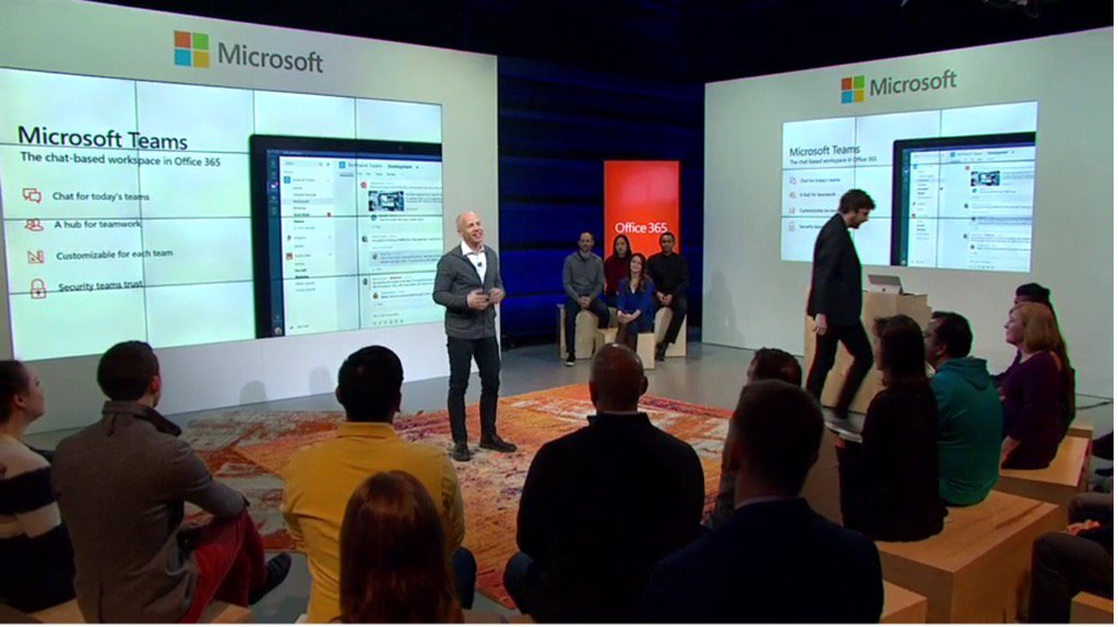 Microsoft's @kjkoenigsbauer introducing general availability of #MicrosoftTeams. #socbiz #futureofwork @Office365 https://t.co/n8mYq2z1Ts