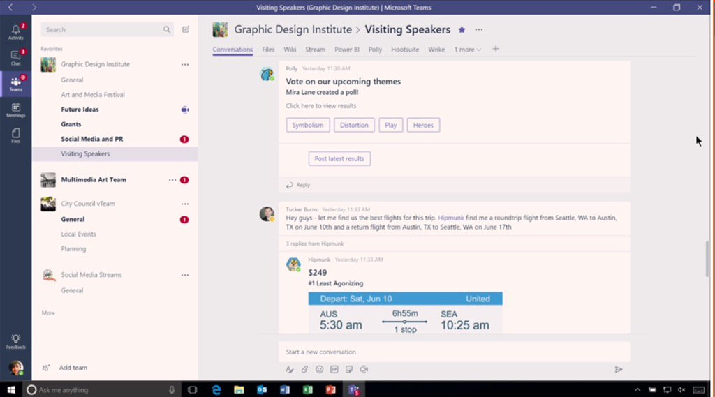 Here is a demo of integration with Polly for polling. #MicrosoftTeams. #socbiz #futureofwork @Office365 https://t.co/RJ2kOihRQU