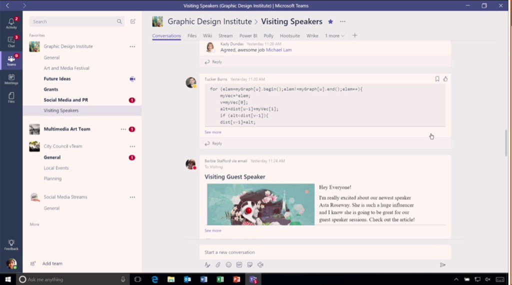 In addition to images, videos, files, etc. #MicrosoftTeams allows code snippets. #socbiz #futureofwork @Office365 https://t.co/ev6EeoQjfo