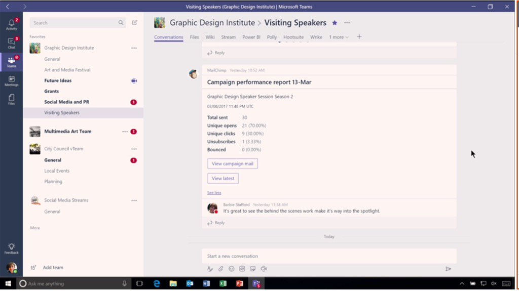 Here is an example of integration with @MailChimp for marketing. #MicrosoftTeams. #socbiz #futureofwork @Office365 https://t.co/9GzvKvh9GH