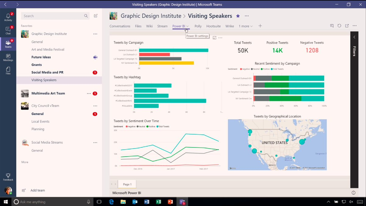 Here you can see #MicrosoftTeams integration with #PowerBI. #socbiz #futureofwork @Office365 https://t.co/lbJDYcDnji