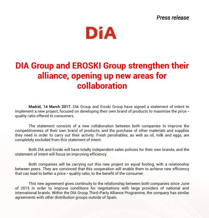 Dia Group On Twitter Dia And Eroski Strengthen Their Alliance In
