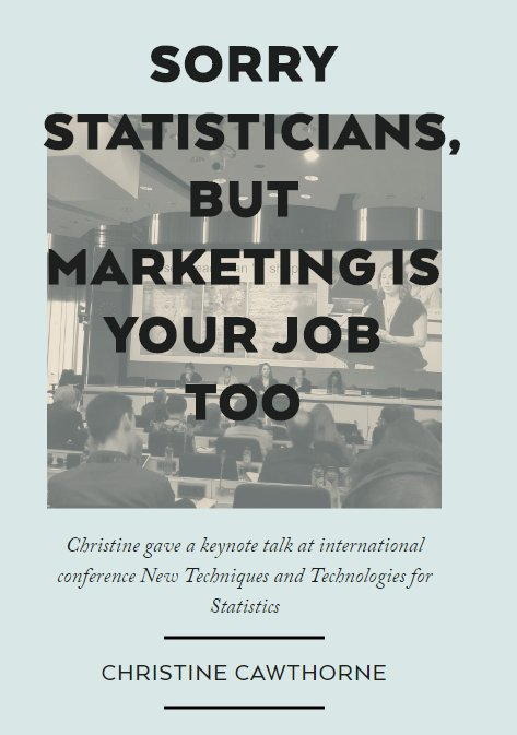 .@crocstar's keynote 'Sorry, but #Marketing is your job too' at @NTTS2017:  > https://t.co/R3Lf1iTMzS   #Statistics #Communication #NTTS2017 https://t.co/1jeYyoVVkS