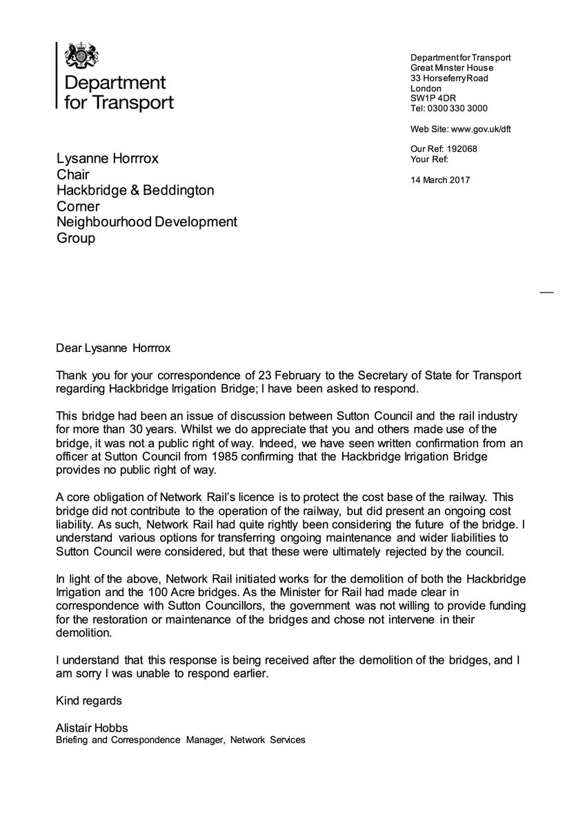 "hackbridgendg on twitter: ""response from our letter of 23/2 to"