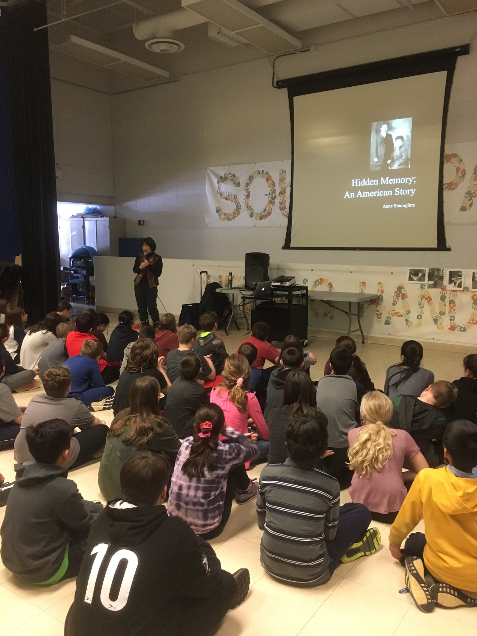 Anne Shimojima spoke to our 5th graders about her grandparents internment during WW2. An amazing, engaging story told. #engage109 #sp109 https://t.co/T4Brx0gPub