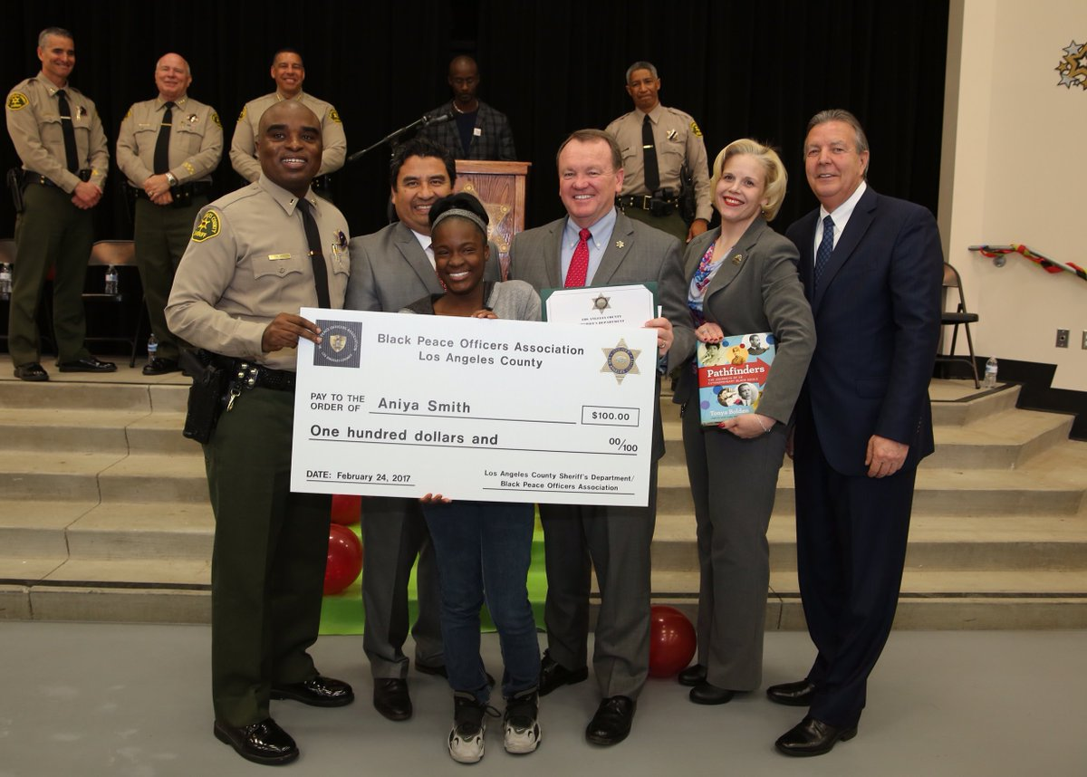 la county sheriff s on 8th grader aniya smith receives la county sheriff s on 8th grader aniya smith receives 100 for writing inspirational essay david g millen m s palmdale lasd bpoa