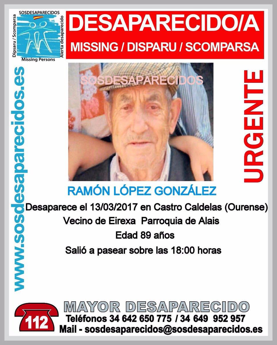 #URGENTE Ramón es un #mayor que ha #desaparecido en Castro Caldelas #Ourense Si lo viste llámanos ☎062 ☎112 Tu RT ayudará